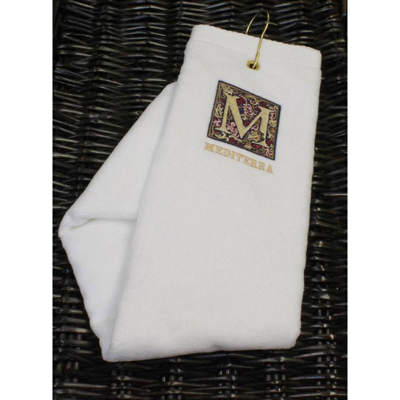 "Turkish Signature Ultraweight White Golf Towel  16"" x 25"", 4 lbs./doz."