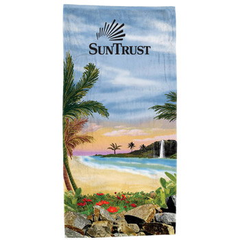 """Distant Shores"" Fiber Reactive Stock Design Beach Towel"
