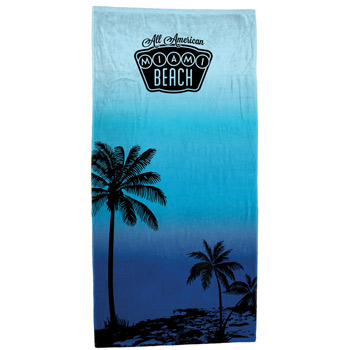 """Breezy Palms"" Fiber Reactive Stock Design Beach Towel"
